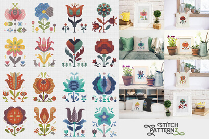 Collection of sixteen downloadable cross stitch patterns: Flowers of Seasons Eternal