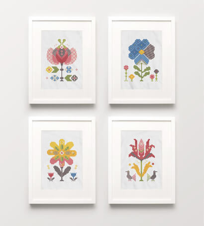 Spring Flowers cross stitch pattern set of four picture frames as wall art