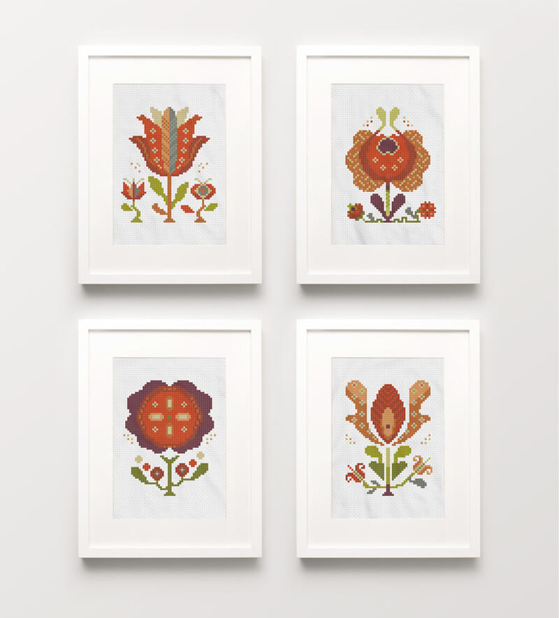 Summer Flowers cross stitch pattern set of four picture frames as wall art
