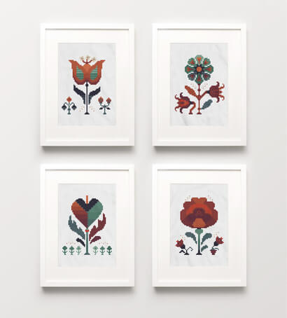 Autumn Flowers cross stitch pattern set of four picture frames