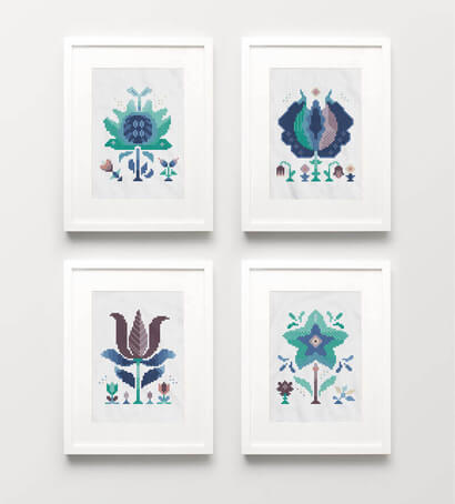 Winter Flowers cross stitch pattern set of four picture frames