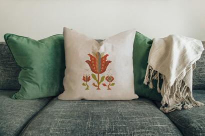 Colorful modern summer flowers cross stitch pattern on pillowcase
