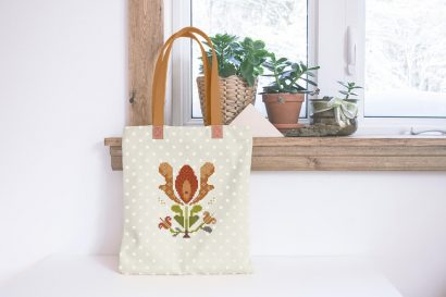 Colorful modern summer flowers cross stitch pattern on reusable bag