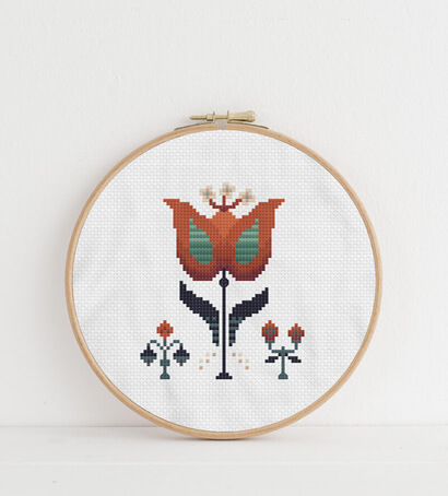 Modern autumn flowers cross stitch pattern in embroidery hoop