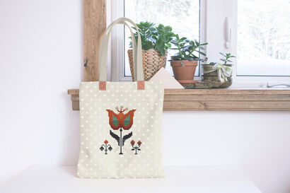 Colorful modern autumn flowers cross stitch pattern on tote bag