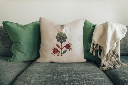 Colorful modern autumn flowers cross stitch pattern on pillowcase