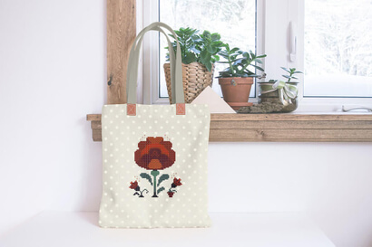 Colorful modern autumn flowers cross stitch pattern on bag