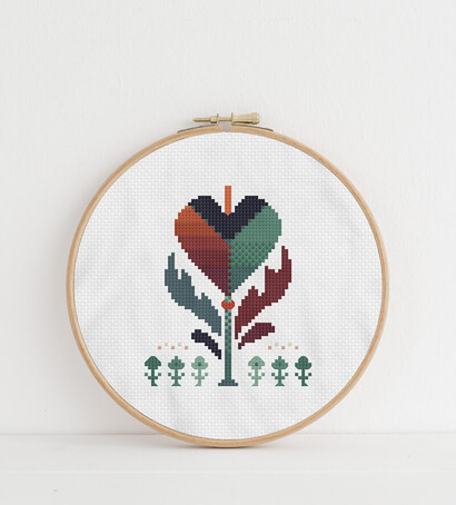 Colorful modern autumn flowers cross stitch pattern in embroidery hoop