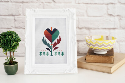 Colorful modern autumn flowers cross stitch pattern in small frame