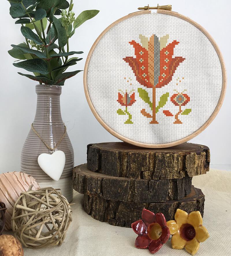 Colorful modern summer flowers cross stitch pattern