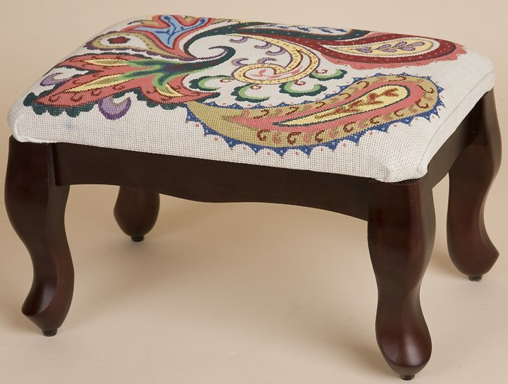 Cross Stitched Footstool