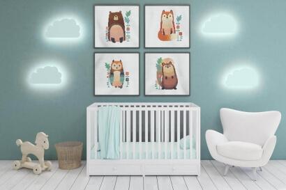 Woodland Animals cross stitch pattern set as nursery wall art: bear, fox, owl and squirrel