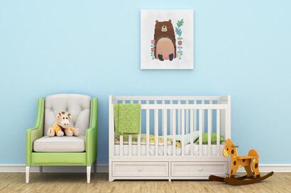 Woodland Animals: bear cross stitch pattern as nursery wall art