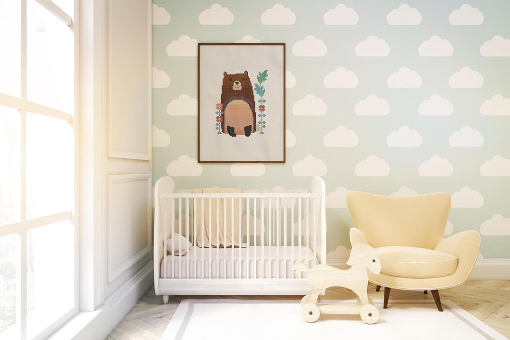 Woodland Animals Cross Sch Pattern Brave Bear Cute For Baby Room Wall Decor