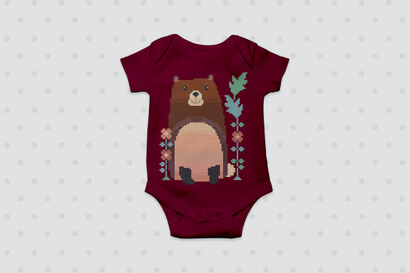 Woodland Animals: bear cross stitch pattern on baby clothes
