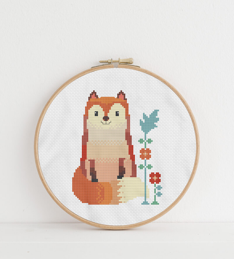 Woodland Animals: fox cross stitch pattern in embroidery hoop