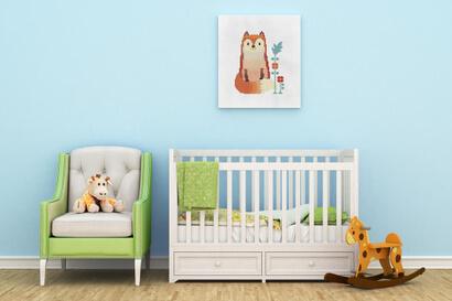 Woodland Animals: fox cross stitch pattern as nursery wall art
