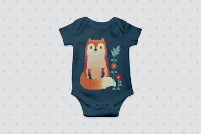 Woodland Animals: fox cross stitch pattern on baby clothes
