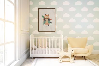 Woodland Animals: owl cross stitch pattern as nursery wall art