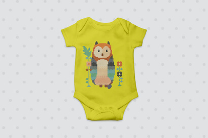 Woodland Animals: owl cross stitch pattern on baby clothes