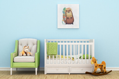 Woodland Animals: squirrel cross stitch pattern as nursery wall art
