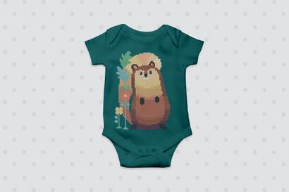 Woodland Animals: squirrel cross stitch pattern on baby clothes