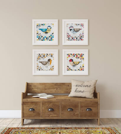 Geometric Birds cross stitch pattern set of four as wall art: blue chickadee, diamond firetail, european robin and house finch