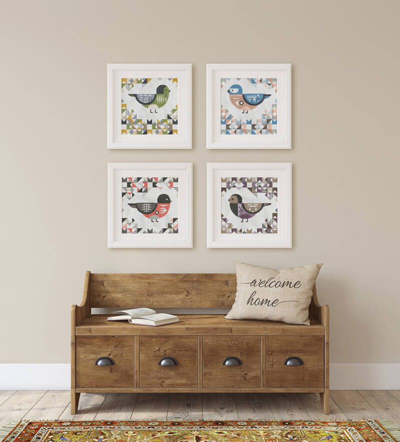 Geometric Birds cross stitch pattern set of four as wall art: cordilleran flycatcher, eastern bluebird, scarlet robin and purple grenadier