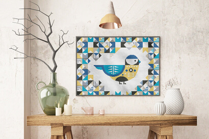 Geometric Birds: blue chickadee cross stitch pattern in large frame