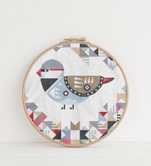 Geometric Birds Cross Stitch Pattern: Diamond Firetail