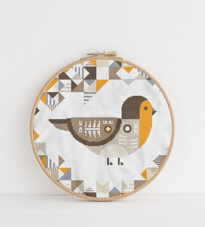 Geometric Birds: european robin cross stitch pattern in embroidery hoop