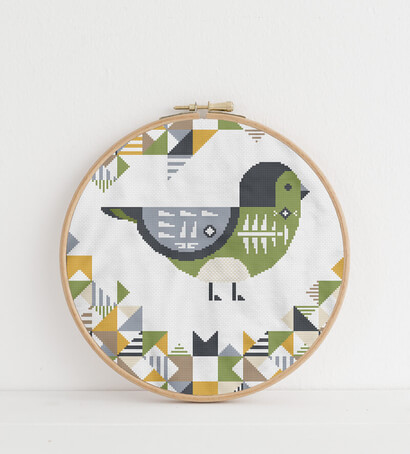 Geometric Birds: cordilleran flycatcher cross stitch pattern in embroidery hoop
