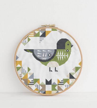 Geometric Birds: cordilleran flycatcher cross stitch pattern in embroidery hoop