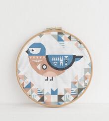 Geometric Bird Cross Stitch Pattern: Eastern Bluebird
