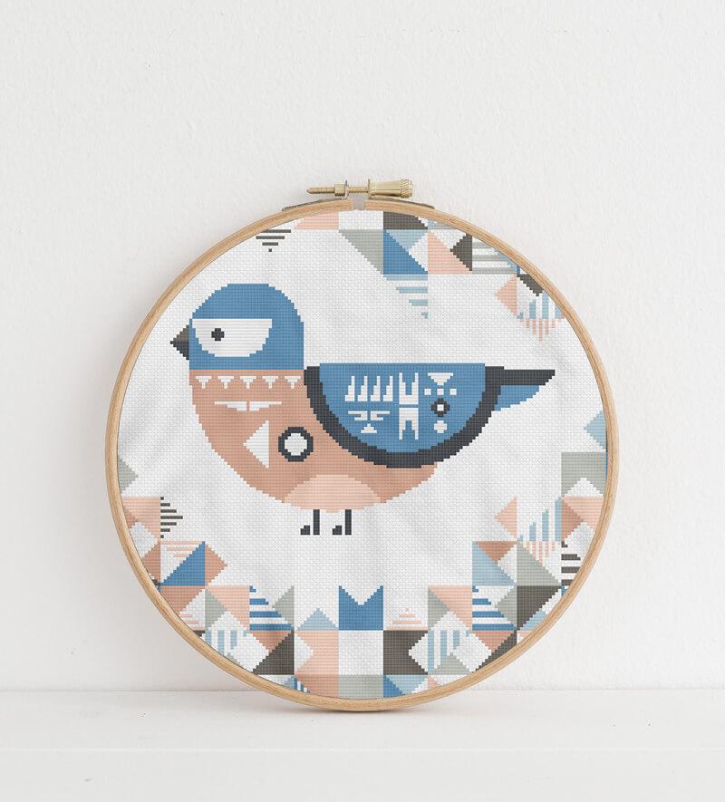 Geometric Birds: eastern bluebird cross stitch pattern in embroidery hoop