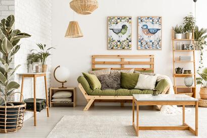 Geometric Birds: eastern bluebird and cordilleran flycatcher cross stitch patterns as wall art in modern room