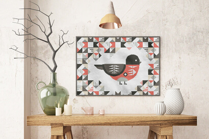 Geometric Birds: scarlet robin cross stitch pattern in large frame