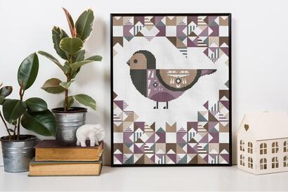Geometric Birds: purple grenadier cross stitch pattern in frame