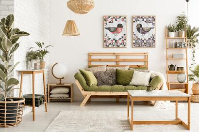 Geometric Birds: scarlet robin and purple grenadier cross stitch patterns as wall art in modern room