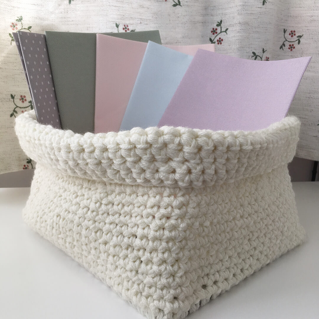 Aida Fabric Pieces in Basket
